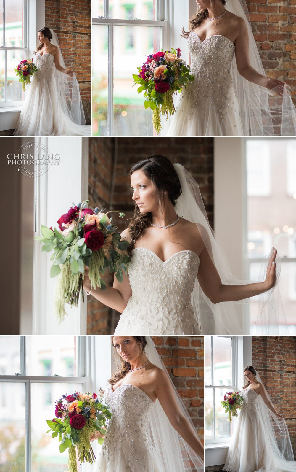 Bride looking out the window of Belle Vue in Wilmington NC - wedding  dress - bridal bouquet - wedding style - Wilmington  NC Wedding Photographers -