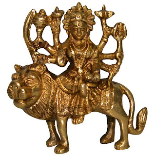 DronaCraft Lion Riding Goddess Durga Small Brass Statue