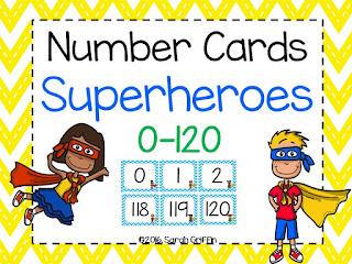 https://www.teacherspayteachers.com/Product/Number-Cards-Superheroes-0-120-2523185