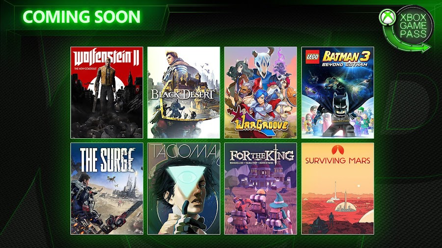 xbox game pass wolfenstein 2 tacoma lego batman 3 surge xb1 2019