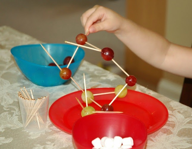 Construction theme snack, building with grapes, toothpicks, and marshmallows