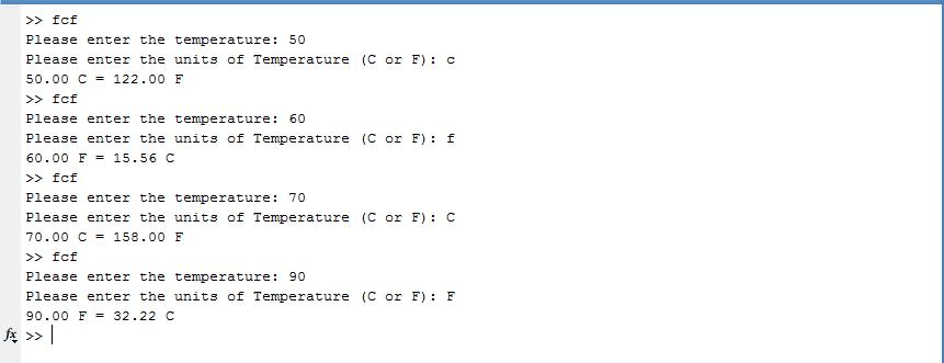 Convert Temperatures - Celsius - Fahrenheit using Matlab