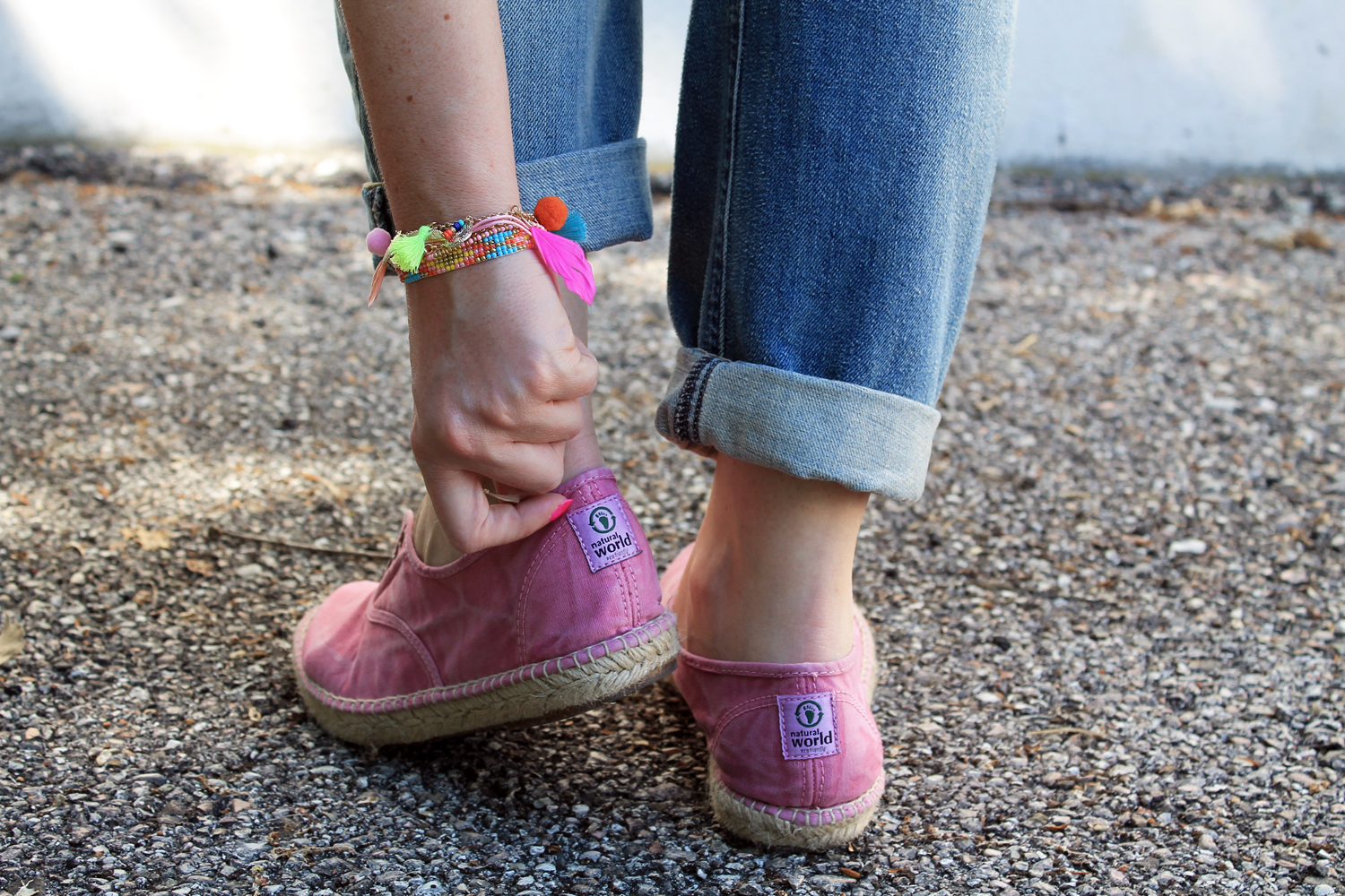 espadrillas rosa in tela natural world eco