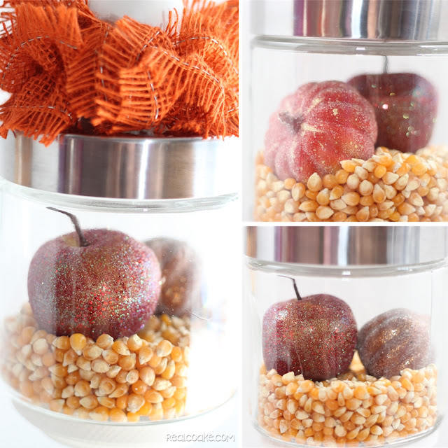 Using apothecary jars for fall decor ideas from realcoake.com