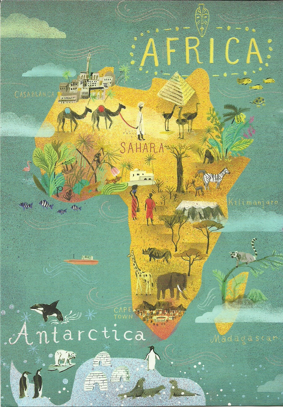 NINU POSTCARDS: Africa- Continent map card from Postallove