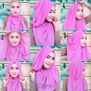 Gambar Tutorial Hijab Pashmina Simple