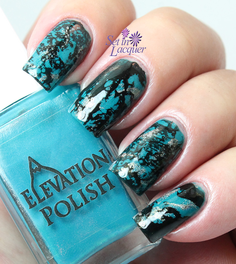 Turquoise Stiletto Nail Art: Nail It With Marbled Turquoise Nail Art