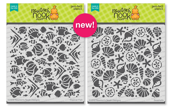 Tropical Fish and Seashells Stencils by Newton's Nook Designs #newtonsnook
