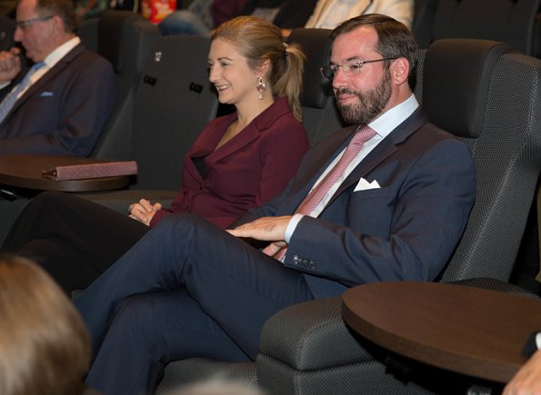Prince Guillaume and Princess Stephanie attended the premiere of 1000 Joer Buerg Clierf's documentary film at Kinepolis. Prada