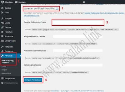 Sedangkan untuk cara verifikasi web/blog wordpress di google webmaster tools atau menambahkan kode verifikasi webmaster di blog wordpress sebenarnya sih kurang lebih sama dengan beberapa langkah/cara-cara di atas. Namun yang membedakannya adalah Anda harus masuk ke halaman wp-admin blog Anda, atau silahkan perhatikan cara berikut ini.  1.= Masuk ke akun wordpress Anda atau akses URL - https://wordpress.com/wp-login.php, atau format URL - https://namablog-anda.wordpress.com/wp-admin/index.php, dengan menggunakan username atau email dan password yang Anda gunakan. 2.= Setelah masuk, klik menuPerkakas > Perkakas yang Tersedia > Layanan Verifikasi Situs Web, dan masukkan kode verifikasi webmaster tools yang sudah dicopy ke kolom Google Webmaster Tools, perhatikan gambar di bawah ini. 3.= Lalu klik tombol Simpan Perubahan di halaman yang sama. 4.= Kemudian kembali ke halaman verifikasi webmaster tools dan klik tombol Verifikasi yang terletak pada bagian sudut bawah kiri.  Sampai disini seharusnya web, situs, blog Anda yang di blogger dan di wordpress sudah berhasil masuk dan di verifikasi ke webmaster tools google.