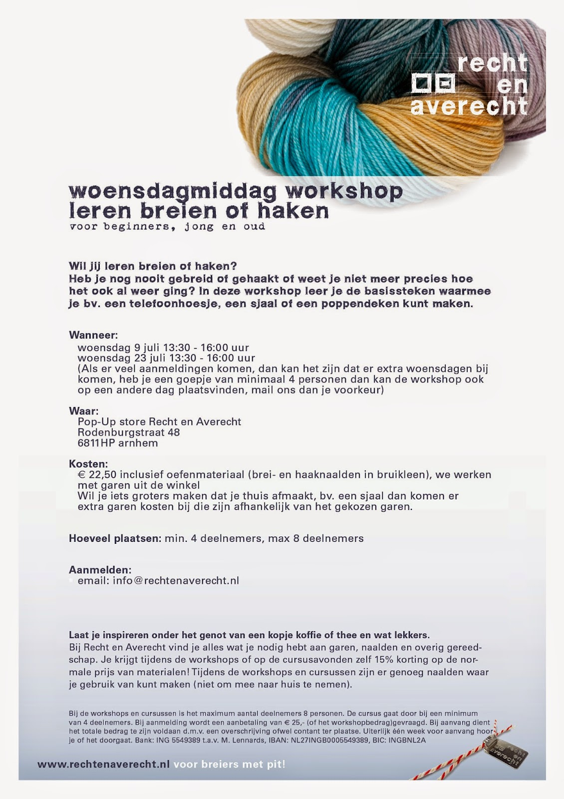 Recht En Averecht Voor Breiers Met Pit Woendagmiddag Workshop
