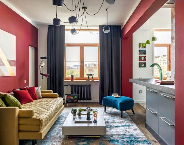 Culori tari și o amenajare îndrăzneață într-un apartament de 55 m² din Moscova