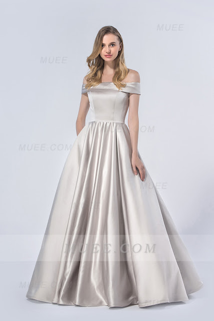 Chic Off Shoulder Ball Gown Long Satin Bridesmaid Dress