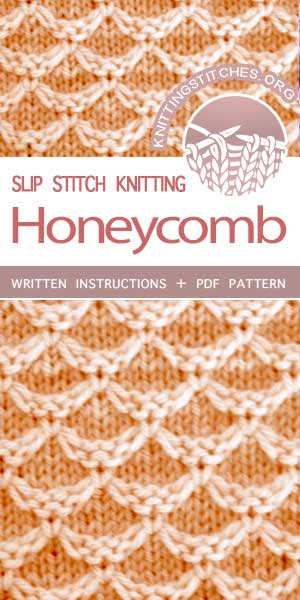 Knitting Stitches -- Free Knitting. Knit Diamond Honeycomb Stitch. #knittingstitches #knittingpatterns