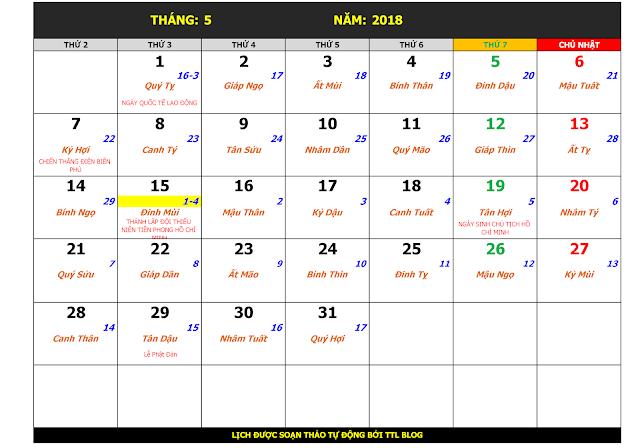 Lịch Vạn Sự Năm 2018 Tháng 5