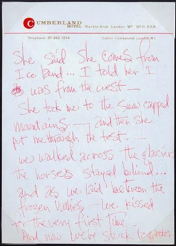 Jimi Hendrix Handwriting Hand Writing