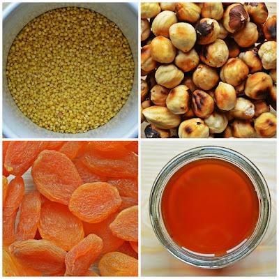 Pieczona jaglanka z suszonymi morelami i orzechami laskowymi - składniki
