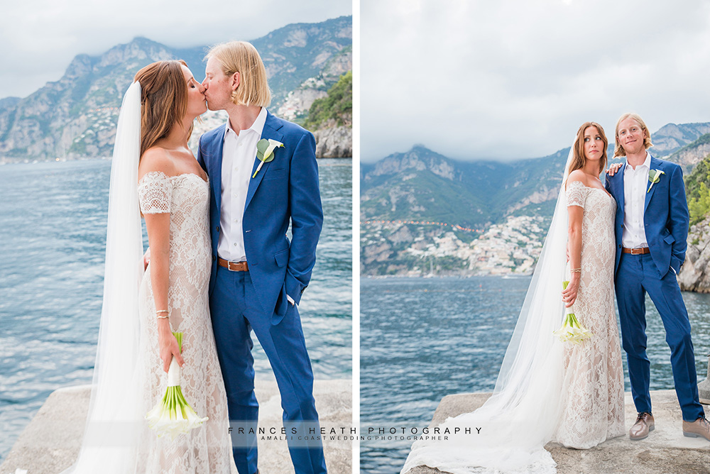 Bride and groom at San Pietro beach club