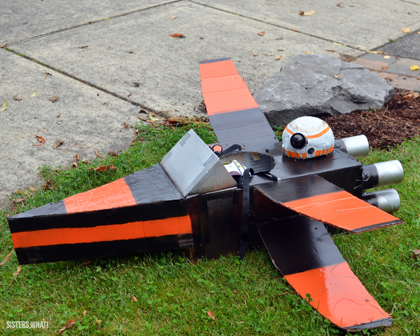 X wing spaceship Halloween Costume out of Cardboard boxes