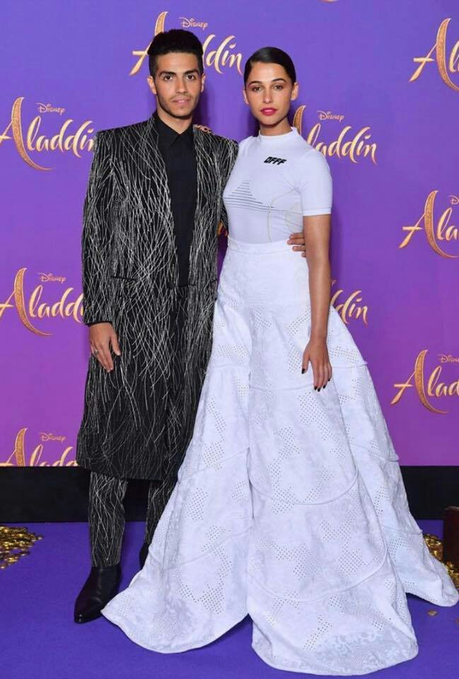 Mena Massoud and Naomi Scott at the premier of Aladdin