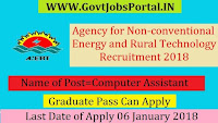 Agency for Non-conventional Energy and Rural Technology Recruitment 2018 –Computer Assistant