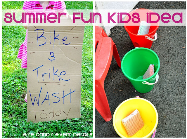 bike & trike wash, buckets of soap, bike wash, summertime fun