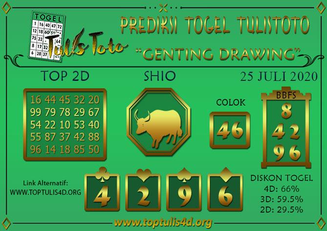 Prediksi Togel GENTING DRAWING TULISTOTO 25 JULI 2020