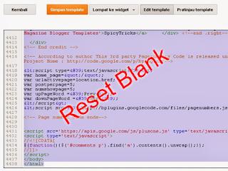 Cara Reset Template Blog menjadi Kosong atau Blank