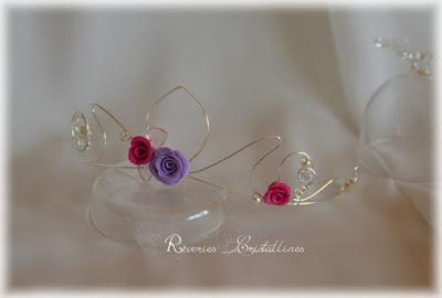 couronne de princesse en argent et roses porcelaine froide