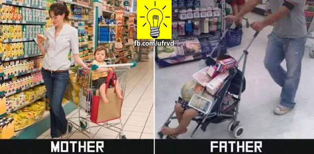 بالصور الفرق بين الأب والأم فى التربية 😂 😱