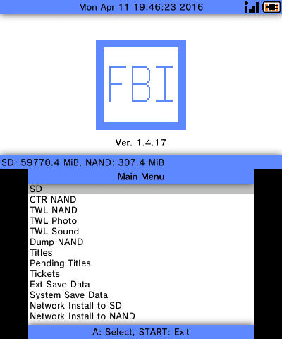 FBI 2 0 1 Download Disponível como  CIA,  3DS e  3DSX