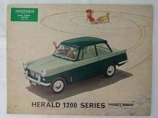Motor Macs (Exeter) Ltd dealer address sticker on Herald 1200 Brochure