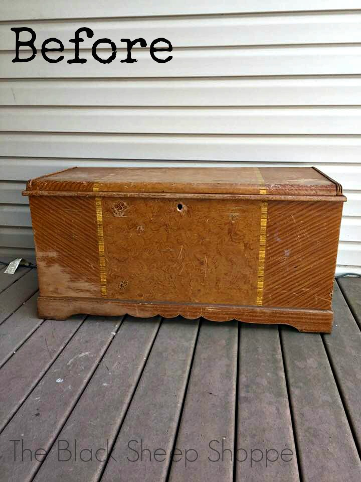 Art Deco cedar chest made by the Franklin Shockey Company in 1951.