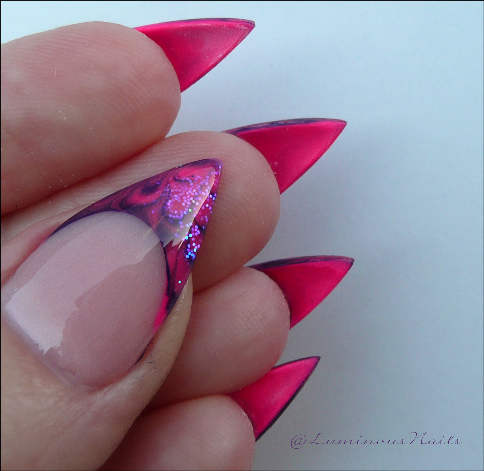 Luminous Nails: Marbleised Hot Pink & Purple Gel Nails.