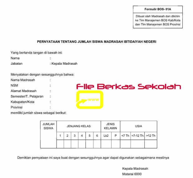 Download Formulir BOS-01A Madrasah