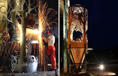 Obra de arte y metal reciclado