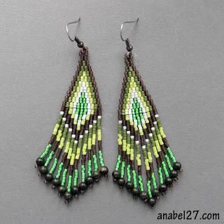 Серьги из бисера - зелено-коричневые - украшения от Anabel