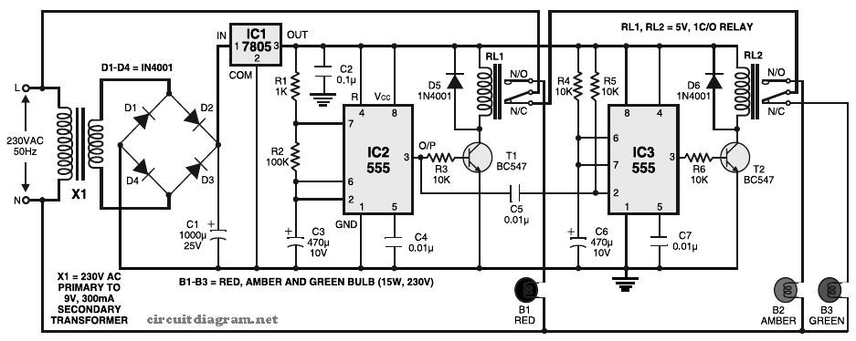 Simple Traffic Light Controller ~ electronic-circuit