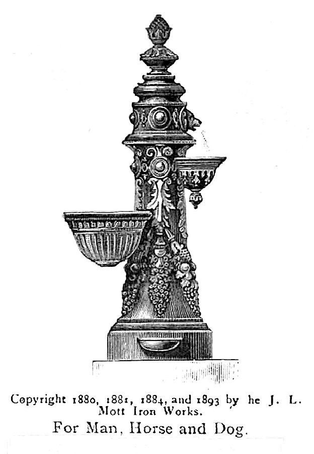 "an illustration of a 1904 public drinking fountain, ""For Man, Horse and Dog"""