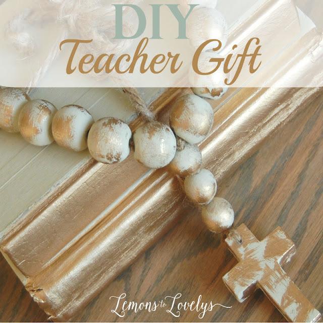 DIY teacher gift.  Hand Painted rosary-decorative beads and cross.  Tutorial on www.lemonstolovelys.blogspot.com