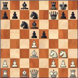 Lyon 1955: Partida de ajedrez , posición después de 14.e5