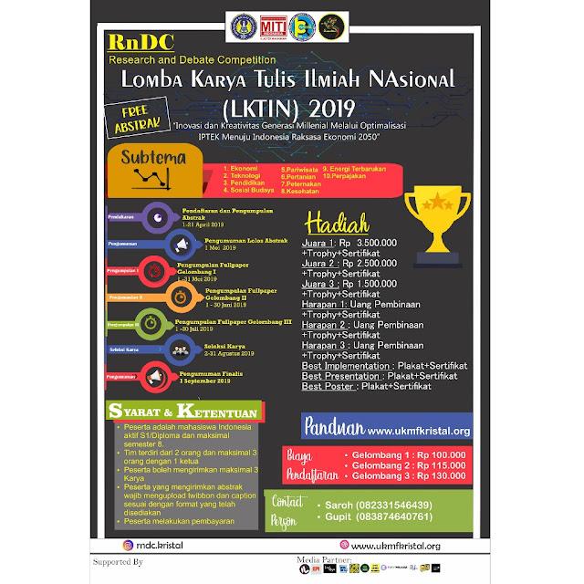Lomba Karya Tulis Ilmiah Nasional Mahasiswa RnDC 2019