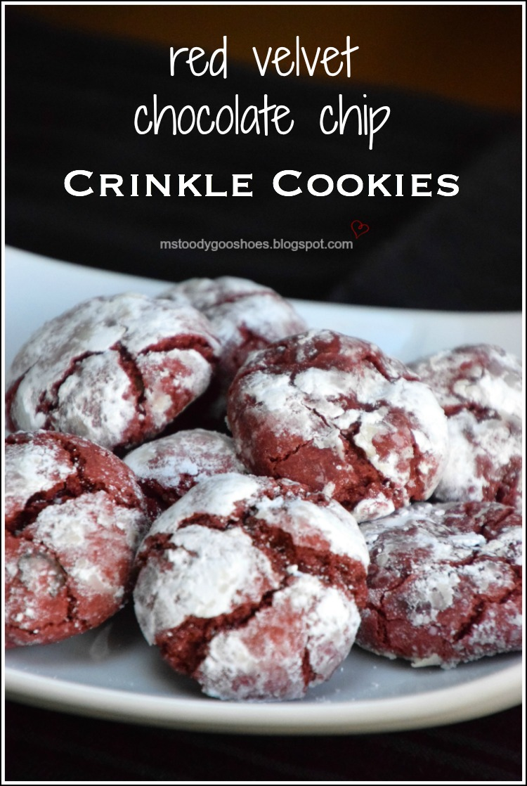 These red velvet chocolate chip cookies are soft and chewy! | Ms. Toody Goo Shoes