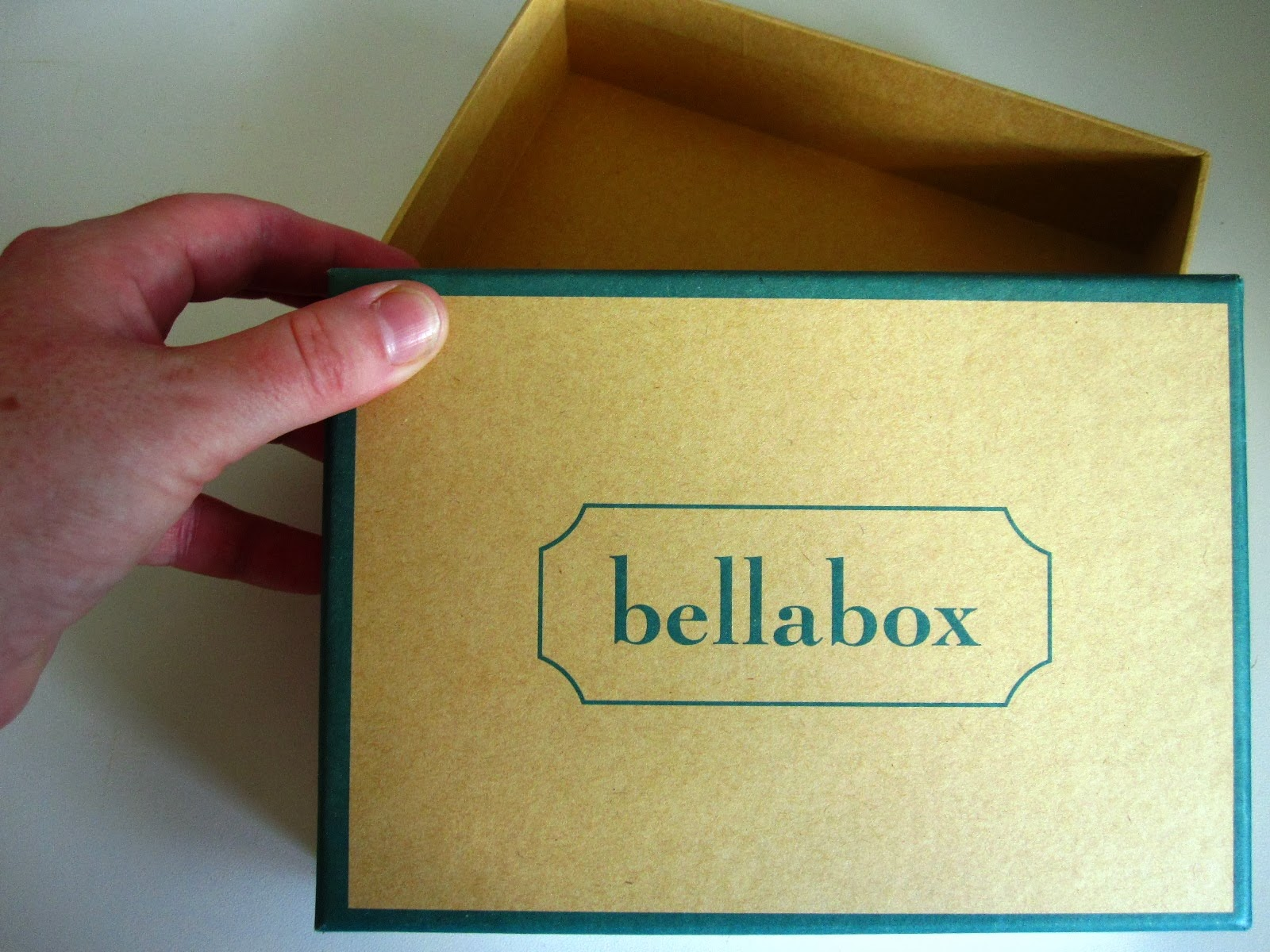 Empty cardboard box with the brand bellabox written on the lid