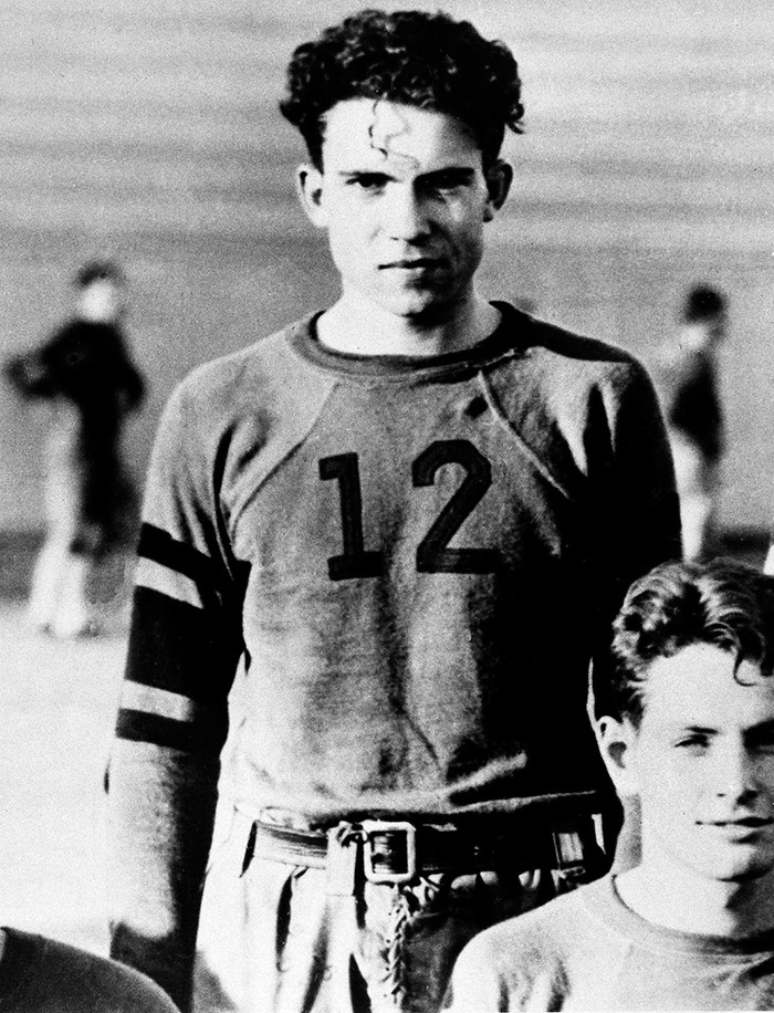 30 Pictures Of World Leaders In Their Youth That Will Leave You Speechless - Richard Nixon Is Shown As A Member Of The Whittier College Football Squad In Whittier, CA, 1930s