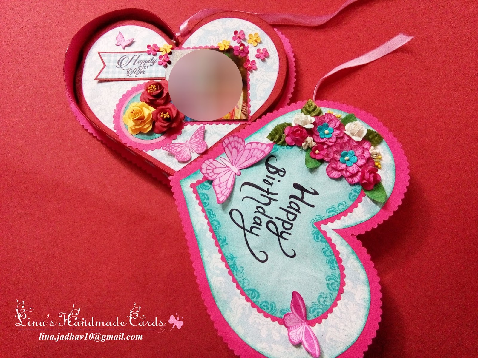 Linas Handmade Cards Two Heart Shaped Cards