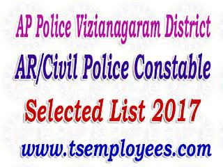 AP Police Vizianagaram District AR/Civil Police Constable Selection List 2017 Merit List Marks
