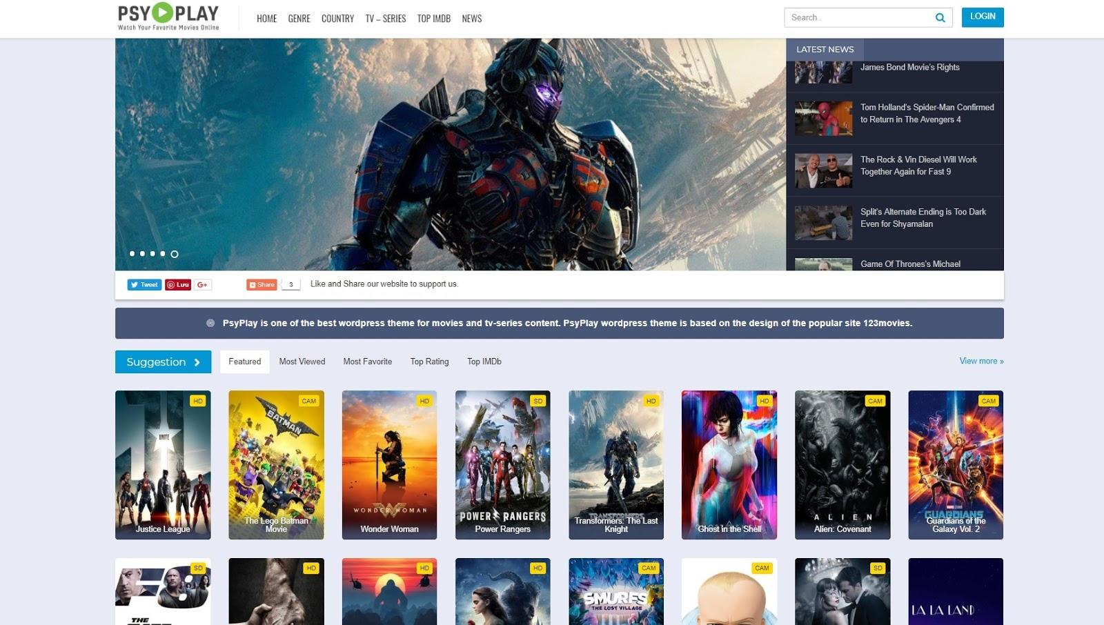 GoMovies PsyPlay Auto Embed Theme Wordpress