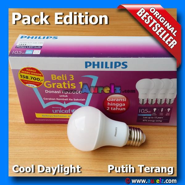 lampu led philips 10.5 watt cool daylight beli 3 gratis 1 edisi unicef pack edition