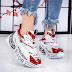 Pantofi sport dama albi cu rosu cu talpa groasa moderni 2020 la moda